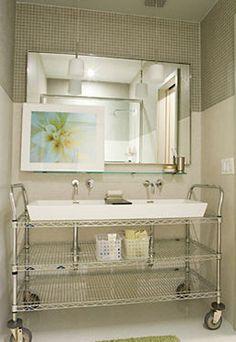 bathroom sink set on Metro shelving