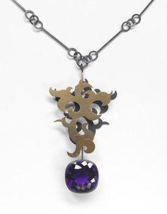 Suzan Rezac. Jewelry. Amethyst, mica powder, oxidized silver, 18K gold