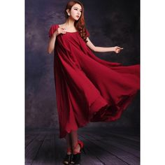 GM-Fashion Red Plain Pleated Belt Irregular Puff Sleeve Plus Size Maxi Dress