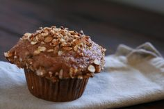Banana bran muffins with granola streusel