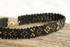 Black macrame choker with golden beads boho bohemian choker