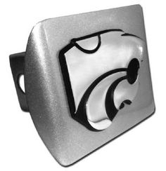Kansas State University Wildcats Logo Brushed Chrome Trailer Hitch Cover is for the Kansas State University or NCAA, Kansas State Wildcats sports fan and comes on a silver background with large Kansas State Wildcats mascot logo.