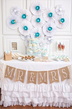blue and white cake table ideas http://www.weddingchicks.com/2013/09/04/blue-and-white-cake-table/