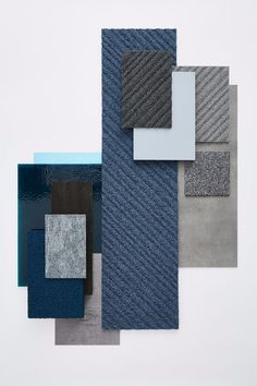 Fusion: a creative, sustainable flooring solution combining Desso's carpet offering with Tarkett's luxury vinyl tile collection Interior Design Boards, Luxury Interior Design, Interior Exterior, Moodboard Interior, Luxury Vinyl Tile, Colour Board, Home Living, Colorful Interiors, Mood Boards
