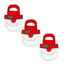 PPARTY Christmas Santa Candy Gift Bag, White/Red, Pack of 3, New, Free Shipping