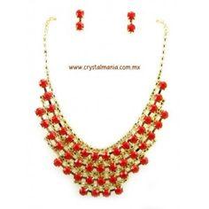 Set de collar y aretes  en color dorado con detalles en tono rojo estilo 30435