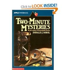 Two-Minute Mysteries by Donald J. Sobol, the author of the Encyclopedia Brown books. This book kept me entertained for a week, just picking it up and reading a few of the one and a half page mysteries at a time. Some are outdated and irrelevant since this book was written in the '60s, but it's still fun to try to solve mysteries!  KJC Reading Strategies, Reading Comprehension, Book Wizard, Drawing Conclusions, Wimpy Kid, Famous Books, Mystery Books, Read Aloud, Paperback Books