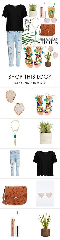 """""""Pom-Pom paradise"""" by averytheleapinglizard ❤ liked on Polyvore featuring Kendra Scott, Elina Linardaki, Allstate Floral, H&M, Topshop, Sole Society, Anastasia Beverly Hills and Laura Ashley"""