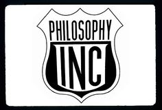 Our artist drew this logo for Philosophy Inc., a project by artist and educator Matt Ames that looks at the dynamic aesthetics of corporate and urban culture and shares its insights with the local community (Roanoke, Virginia). T-shirts are available.
