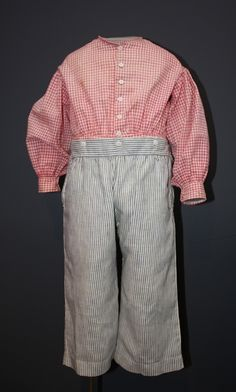 Boy's clothing rarely survive. (boys will be boys. :-)) making this outfit extra special. Boy's suit, ca. 1860s; ATHM 2000.129.1-A-B