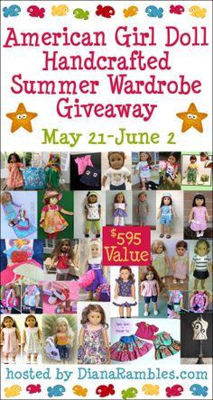 American Girl Doll Custom Handmade Summer Wardrobe Giveaway $595 Value May 21 - June 2 hosted by Diana Rambles.