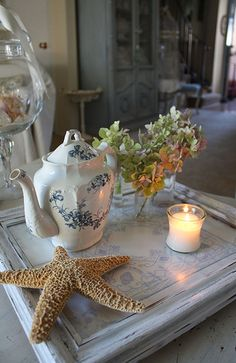 Shabby Beach Cottage Tray by Romantic Home, via Flickr