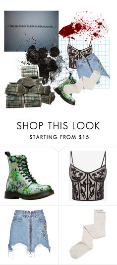 """""""Lol what"""" by gay-cosmo-goddess ❤ liked on Polyvore featuring Dr. Martens, Alexander McQueen, Marcelo Burlon and Intimately Free People"""