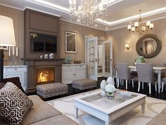 Neutral living room with fireplace