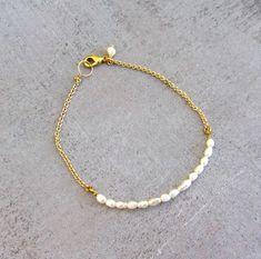 Dainty pearl bracelet gold filled simple wedding beaded by lunahoo