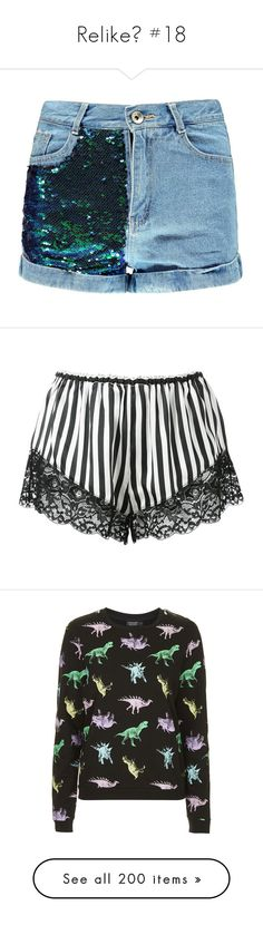 """""""Relike💕 #18"""" by moon-crystal-wolf ❤ liked on Polyvore featuring shorts, bottoms, boohoo, mini jean shorts, hot shorts, short shorts, short jean shorts, sequined shorts, black and silk shorts"""