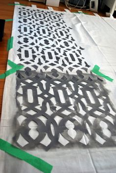 stenciled curtains... Why didn't I think of this when I can never find what I am looking for!