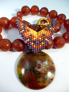 Play With Fire  Carnelian & African Green Opal by gypsyeyesjewelry