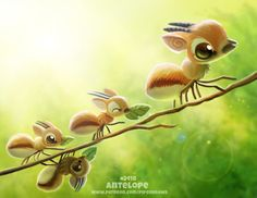 Daily Paint Antelope by Cryptid-Creations on DeviantArt Cute Creatures, Magical Creatures, Fantasy Creatures, Cute Animal Drawings Kawaii, Cute Drawings, Animal Puns, Animal Sketches, Art Images, Cute Art