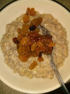 Oatmeal with cinnamon, a little sugar and raisins. My 10 month old loved it