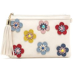 Give off majorly chic vintage vibes with this textured clutch. Flat vegan leather bag features a rectangular profile scattered with retro-inspired flowers acce…