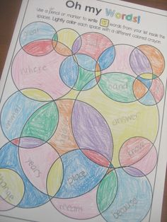 Word art - Children write sight words, spelling words or vocabulary words inside the spaces and color. Oh my Words art page from Printables for any Word List file from Clever Classroom
