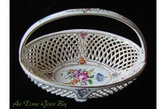 Donath & Company Dresden Flowers Porcelain Handled Basket from astimegoesby on Ruby Lane