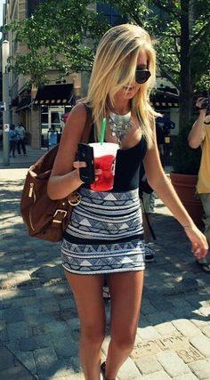 print skirt, basic tank & chunky neclace= perfection