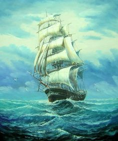 24x20 SHIP Ocean Sea Boat Oil Painting Canvas Wall Hanging $65