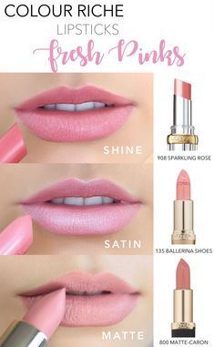 Pink lips 804174077200765187 - Fresh pink lip shades for Summer featuring L'Oreal Colour Riche: Colour Riche Shine in 908 Sparkling Rose, Colour Riche Satin in 135 Ballerina Shoes, and Colour Riche Matte in 800 Matte-Caron. Violet Lipstick, Lipstick For Fair Skin, Lipstick Swatches, Makeup Swatches, Lipstick Colors, Lipstick Shades, Best Pink Lipstick, Mac Lipstick Dupes, Skin Makeup