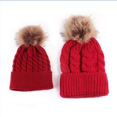 1b83d695c99 Mommy and Me Poof Beanies. Mom And BabyMatching OutfitsKids HatsCaps For  WomenBaby HatsBaby WinterWinter HatsKnit BeanieKnitted Hats