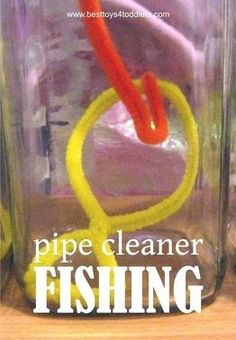 Pipe Cleaner Fishing Game for Toddlers - easy and cheap sensory, fine motor and pretend play game. p for pipe cleaner. Sensory Activities, Preschool Activities, Summer Activities, Games For Preschoolers Indoor, Preschool Camping Theme, Art For Toddlers, Sensory Play, Fish Games For Kids, Physical Activities
