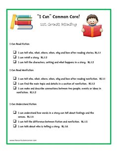 """I Can"" Common Core! 1st Grade Reading Printables & Template"
