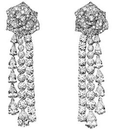 Limelight Garden Party earrings - Piaget Rose in 18K white gold, set with 14 pear-cut diamonds (approx. 6.07 ct) and 218 brilliant-cut diamonds (approx. 9.89 ct)