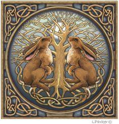 Pagan Greetings Card - Moon gazing hares Lisa Parker Blank inside   eBay