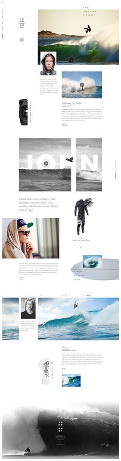 Pegada Jovial.. com garra.. essa referência é mais pela personalidade do atleta que é um cara de 21 anos no máximo entre os 5 melhores surfistas mundiais. Pergunto, como conseguiríamos representar isso visualmente, essa força e determinação toda?  #webdesign #web #design #layout #userinterface #website