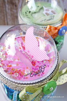 Easter Mason Jars Project - Butterfly - with PTI supplies by stampcatwg - Cards and Paper Crafts at Splitcoaststampers Mason Jar Projects, Mason Jar Crafts, Craft Gifts, Diy Gifts, Christmas Lodge, Christmas Ideas, Diy Snow Globe, Pots, Globe Ornament