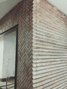 Love this different way to layout brick! The zig zag herringbone pattern is a cl… Love this different way to layout brick! The zig zag herringbone pattern is a classic, but I love the exposed edges of it! Architecture Windows, Texture Architecture, Plans Architecture, Architecture Building Design, Concrete Architecture, Interior Architecture, Brick Design, Facade Design, Exterior Design