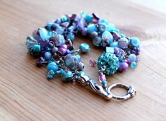 blue and purple bracelet / beaded bracelet / tulip by UniqueNecks, $40.00