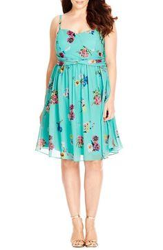 City Chic 'Fresh Floral' Chiffon Fit & Flare Dress (Plus Size)