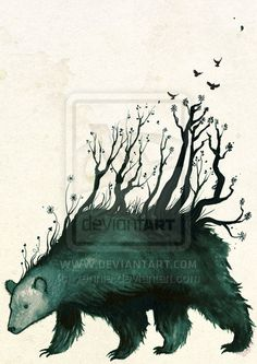 the bear is the forest by ~yennie on deviantART; inspired by Finnish folklore- when the bear moved, the forest moved with it...