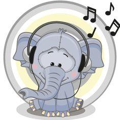 Cute cartoon Elephant with headphones Cartoon Cartoon, Cartoon Images, Flying Elephant, Baby Elephant, Elephant Illustration, Cartoon Elephant, Blue Nose Friends, Portfolio, Listening To Music