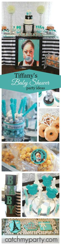If you're looking for a Boy's Baby Shower inspiration then you want to miss this Tiffany's inspired one! What a great touch with the 'Ready to Pop' Popcorn!! See more party ideas at CatchMyParty.com