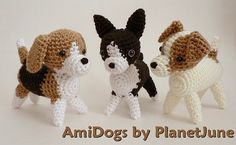 Beagle, Boston Terrier, Jack Russell Terrier (crochet amigurumi) by planetjune, via Flickr