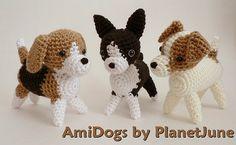 Beagle, Boston Terrier, Jack Russell Terrier (crochet amigurumi) by planetjune, via Flickr