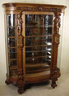 Oak Serpentine Glass China Cabinet with carved noblemen Art Deco Furniture, Furniture Styles, Unique Furniture, Rustic Furniture, Vintage Furniture, Furniture Design, Antique French Furniture, Victorian Furniture, Antique Decor