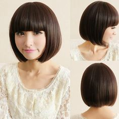 New Short Sexy Cosplay Lady Fashion Straight Wig Hair Party Bob Wigs Brown/Black
