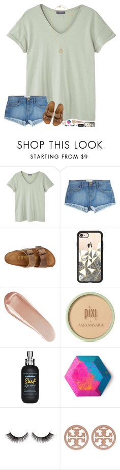 """""""rtddddddd :)"""" by hopemarlee ❤ liked on Polyvore featuring MANGO, Current/Elliott, Birkenstock, Casetify, NARS Cosmetics, Pixi, Bumble and bumble, Tory Burch and Versace"""