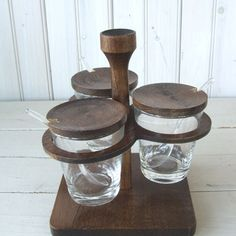 Mid Century Modern Condiment Serving Set Wood and Glass Japan by lookonmytreasures on Etsy