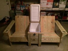 Lounge chairs,cooler, pallets love the built in cooler and cup holders